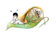Snail. Painting of human mollusk isolated on white vector illustration
