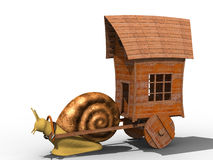 Snail. Trundle cart with old wooden house. Isolated Stock Photo