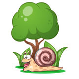 Snail, animals, tree, grass cartoon characters Stock Images