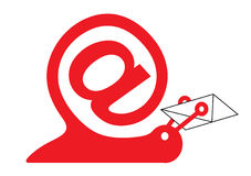 Snail as email icon. Snail as internet sign and email icon Stock Images