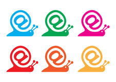 Snail as internet sign and email icon Royalty Free Stock Photos