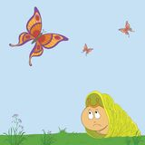 Snail and butterflies Stock Photography