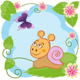 Snail and butterfly among flowers Stock Photography