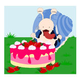 Snail and the cake Stock Image
