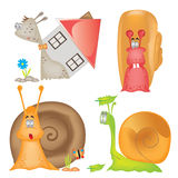 Snail_cartoon_charecter. There are four cartoon snails Stock Images