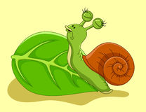 Snail cartoon crawling on leaf Stock Photography