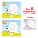 Snail cartoon: Spot 5 differences!. Concentration game for children: Spot 5 differences between the two pictures! The snail is also useful for coloring in. The vector illustration