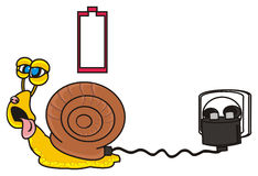 Snail charges its battery Royalty Free Stock Image