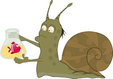 Snail the chemist. And the scientist from a fairy tale royalty free illustration