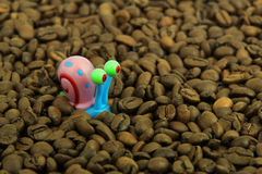 Snail and coffee beans Royalty Free Stock Photo