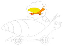 Snail Coloring 6. Black and white illustration of a snail on wheels coloring with reference to the colors at the top righ Royalty Free Stock Photos