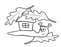 Snail, coloring book. Snail and playhouse. Coloring book for the kids Royalty Free Stock Images