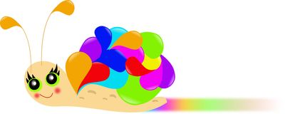 Snail of colours. Illustration of snail decorated with coloured conch vector illustration