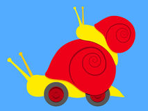 Snail couple with wheels Royalty Free Stock Images