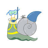 Snail diver Royalty Free Stock Photo