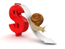 Snail  and Dollar (clipping path included) Stock Photography