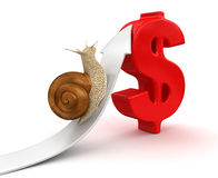 Snail  and Dollar (clipping path included) Royalty Free Stock Photography