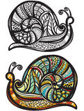 Snail with doodle pattern Stock Images