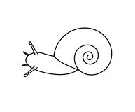 Snail Drawing. Cartoon Sea Snail Drawing Vector Illustration Stock Photos