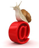 Snail and e-mail (clipping path included) Royalty Free Stock Photography