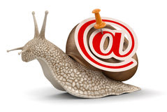 Snail and e-mail (clipping path included) Stock Photo