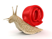 Snail and e-mail (clipping path included) Stock Image