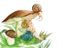 A snail and a fairy Stock Photography