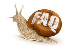 Snail and FAQ (clipping path included) Stock Photos