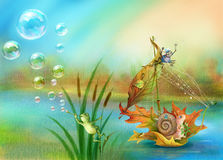 Snail floating on water Stock Images