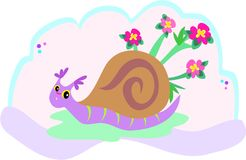 Snail with Flowers Royalty Free Stock Photo