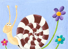Snail and flowers. Acrylic illustration of Snail and flowers Stock Images