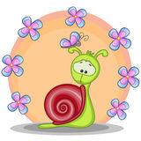 Snail with flowers. Greeting card snail with flowers Stock Image