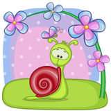 Snail with flowers. Greeting card snail with flowers Stock Photography