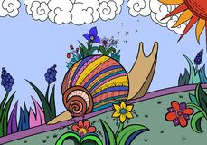 Snail among the flowers royalty free illustration