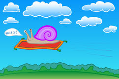 Snail on a flying carpet Stock Photography