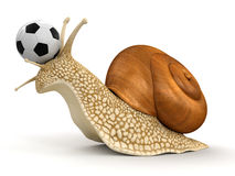Snail and Football (clipping path included) Royalty Free Stock Photos