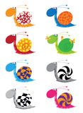 Snail funny set. Illustration of a snail funny set Stock Image