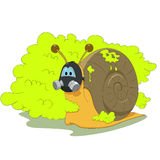 Snail with gas mask Royalty Free Stock Photos