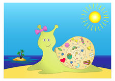 Snail with gifts on island Royalty Free Stock Photos