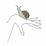 Snail on hand. Snail crawling on his hand Stock Photography