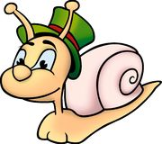 Snail and hat. Snail 01 - High detailed and coloured illustration - Snail and hat Royalty Free Stock Photos