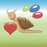 Snail with heart Stock Photography
