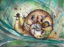 Snail. With his house.Picture created with watercolors Stock Photos