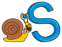 Snail holding letter S Royalty Free Stock Image