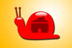 The snail house. A glossy snail with a home symbol Royalty Free Stock Images
