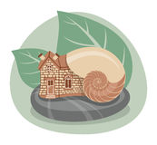 Snail House. The house in the shell of a snail as the concept of security and privacy vector illustration
