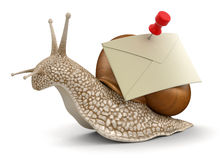 Snail and letter (clipping path included) Royalty Free Stock Image