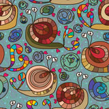 Snail love crazy seamless pattern Royalty Free Stock Photography