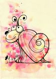 A snail in love with a heart Valentine`s Day on a gentle pink wreath