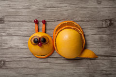 Snail made of orange and grape Royalty Free Stock Images